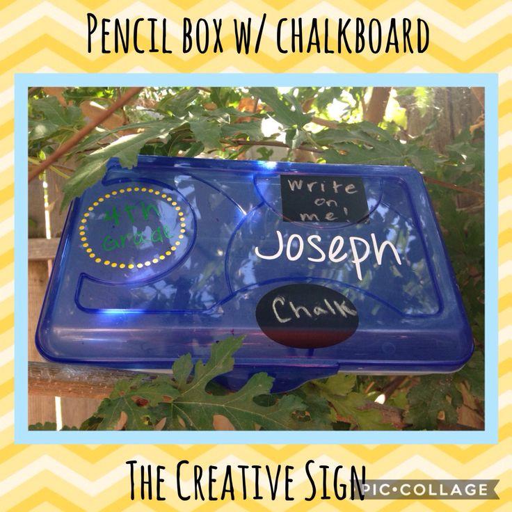 Back to school, pencil box, chalkboard, personalized pencil box, pencil box w/ chalkboard, school supplies, custom pencil holder by TheCreativeSign on Etsy