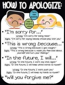 So often students find it difficult to apologize - this simplifies the process and should always be part of the class culture
