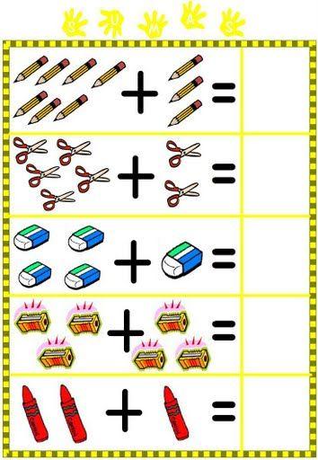 Primeras sumas: Estas sumas le resultarán fáciles, más que nada por la ilustración de los dibujos. Es una manera de aprender a sumar mien...