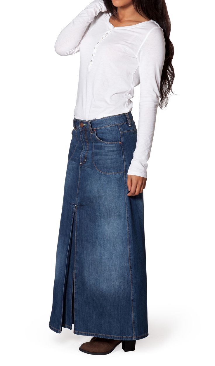 33 best images about Long Jean Skirts & Maxi Denim Skirts on ...