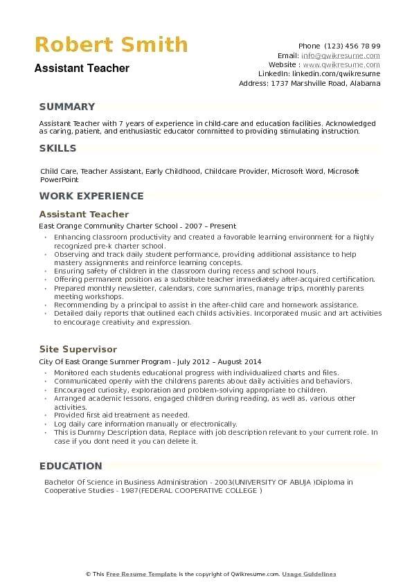 Basic Resume Examples Minimalist Resume Examples In 2020 Teaching Assistant Job Teacher Assistant Teacher Resume