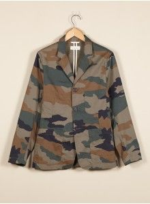 Universal Works Olive Suit Jacket in Camo Twill