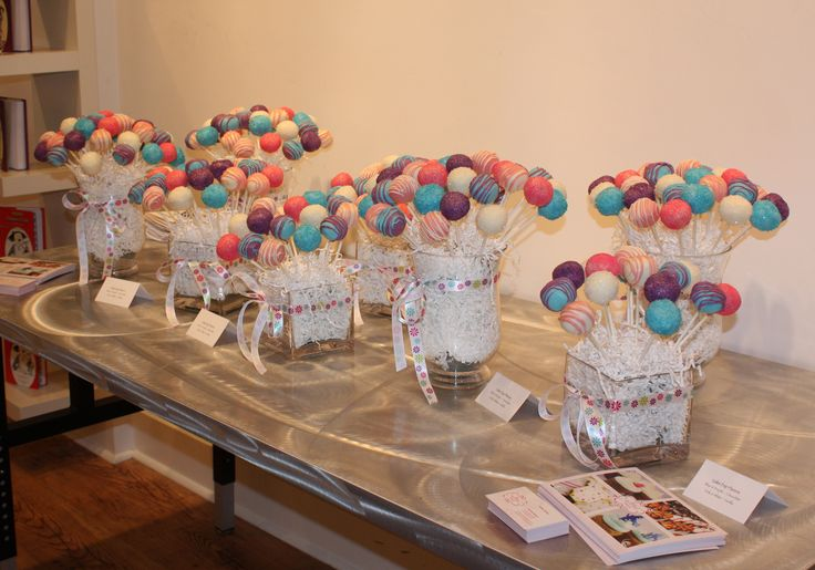 Cake pop display for a book signing event - Swirled Bakery