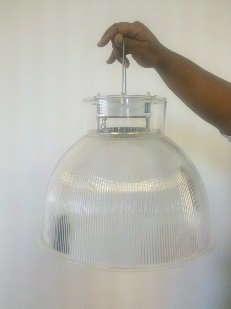 Fully see through acrylic high-bay fixture with 100W LED CoolTube based light-engine