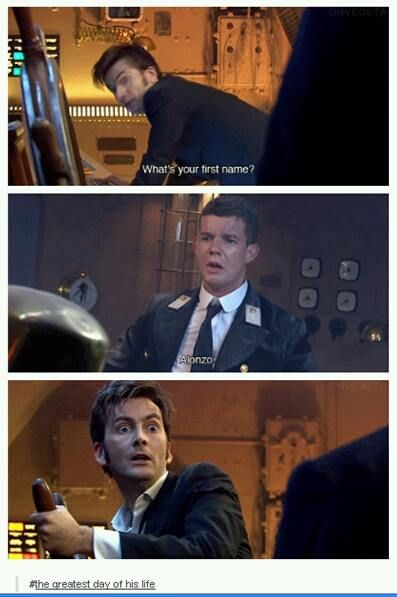 All day awful things have been happening to him. For a long time nothing good has come to him. And now just when hes ready to give up a boy named Alonzo shows up. Just his name is enough to pull him through it. He has been using this catchphrase since the day he lost Rose Tyler and now, finally he gets to say it..Say it for Rose Tyler.
