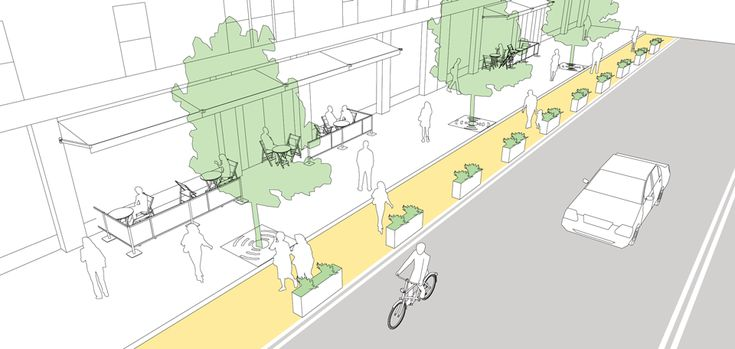 Interim sidewalk widening explained and illustrated in the NATCO Urban Street Design Guide. Click on image for details, and visit the Slow Ottawa 'Streets for Everyone' Pinterest board for more of these superb illustrations.