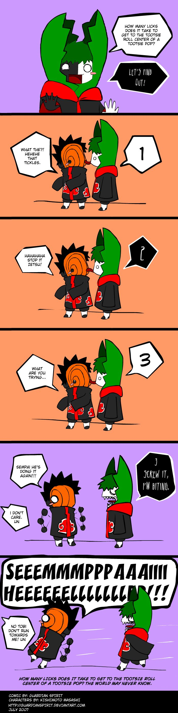 """Naruto Shippuden » Humor » Comic   """"How many licks does it take to get to the tootsie roll center of a tootsie pop? Let's find out!""""   #tobi #zetsu #deidara"""