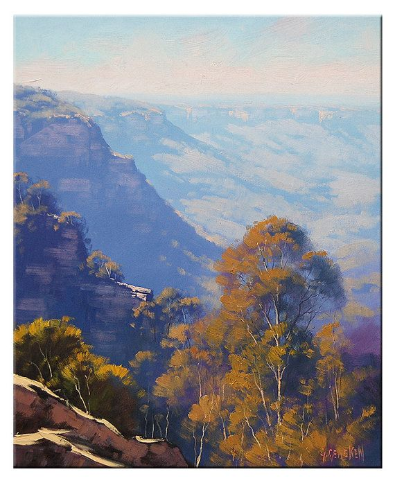 Art by Graham Gercken at http://www.etsy.com/listing/109697417/blue-mountains-painting-cliffs
