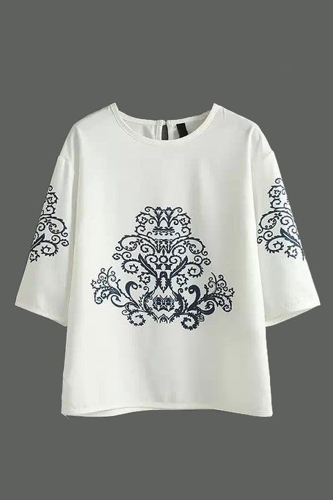 Discover women's LUCLUC White Floral Embroidered T-Shirt with LUCLUC. FREE SHIPPING WORLDWIDE!
