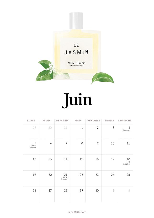 calendrier juin 2017 parfum à imprimer calendar june illustration packaging beauty