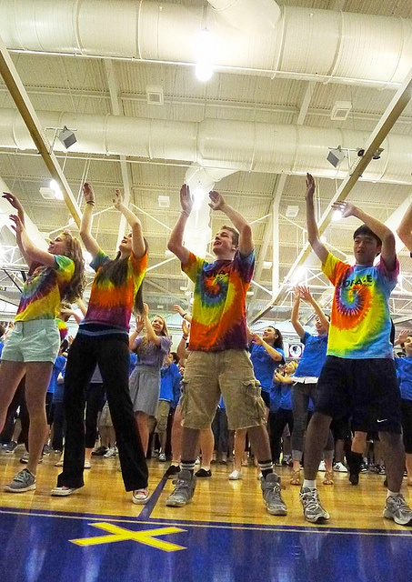 Student government members lead the Dance Marathon 2012 line dance during a convocation on March 17. The convocation began with a celebration of the total that Dance Marathon collected for Riley Hospital For Children. Speakers also recognized the achievements of athletic teams as well as the academic achievements of groups. The ceremonies ended with Principal John Williams emphasizing the overall excellence of Carmel High School students.