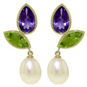 14k Solid Gold Dangle Earrings with Amethysts, Peridots and PearlsAmethysts, Beautiful Jewelry, Awesome Products, 14K Solid, Pearls, Favorite Products, Solid Gold, Dangle Earrings, Gold Dangle