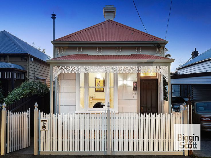 Off white and white Victorian cottage with red roof. 16 Fraser Street RICHMOND $750,000+ @ domain.com.au