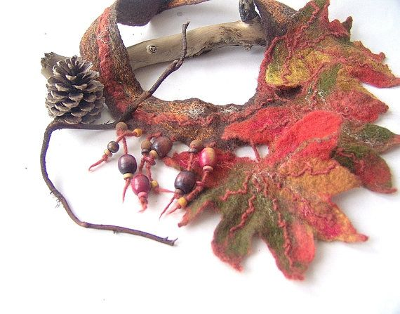 Felted  necklace   Autumn leaves fall green orange by galafilc