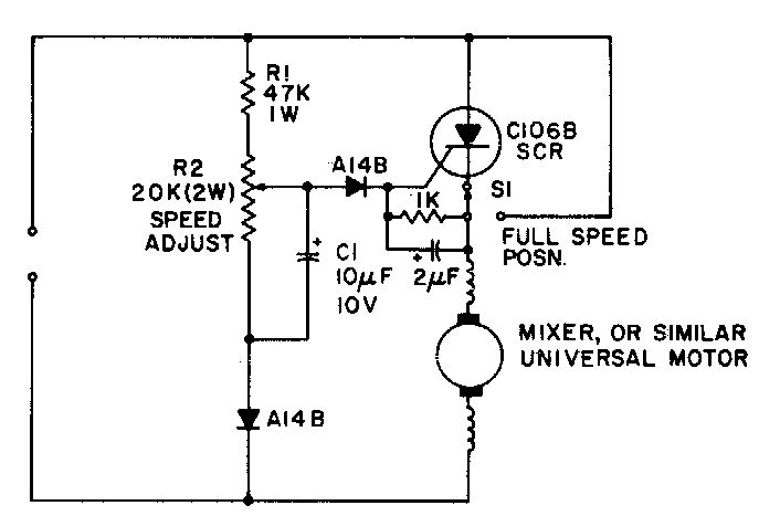 Universal-motor speed control. RPM control with a bypass