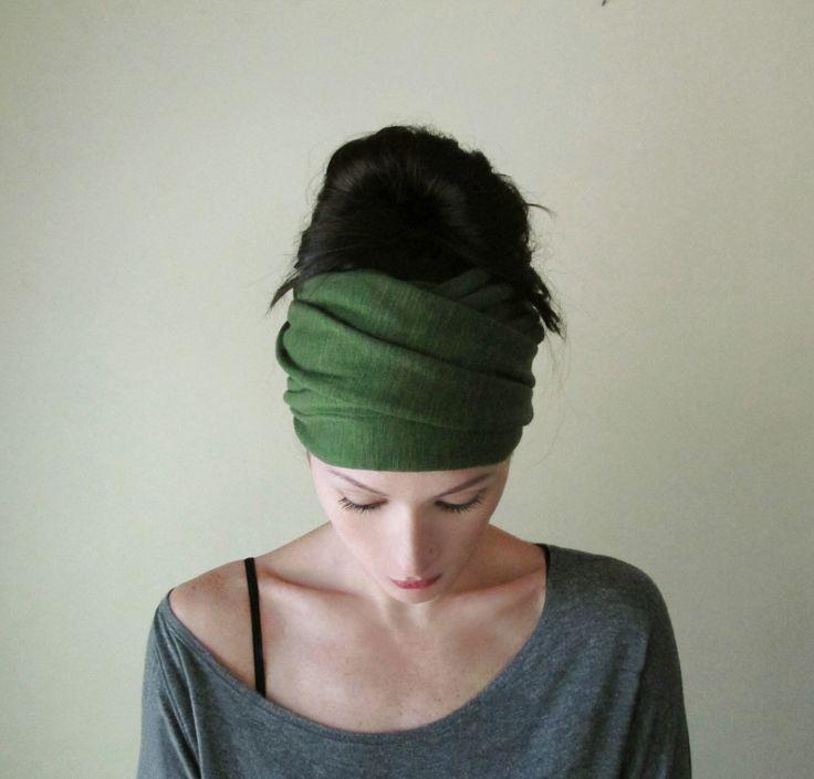 Head Scarf - Avocado Green Jersey Yoga Headband - Green Hair Wrap - Womens Workout Hair Accessories - EcoShag
