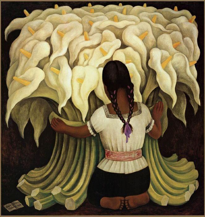 Mujer con girasoles - Diego Rivera