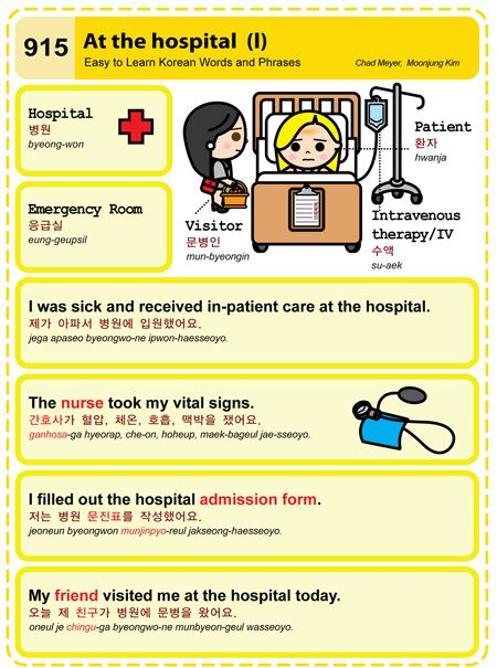 Easy to Learn Korean 915 - At the Hospital (Part One). Chad Meyer and Moon-Jung Kim EasytoLearnKorean.com An Illustrated Guide to Korean