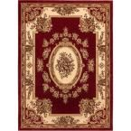 Timeless Le Petit Palais Red 6 ft. 7 in. x 9 ft. 3 in. Traditional Classical Area Rug