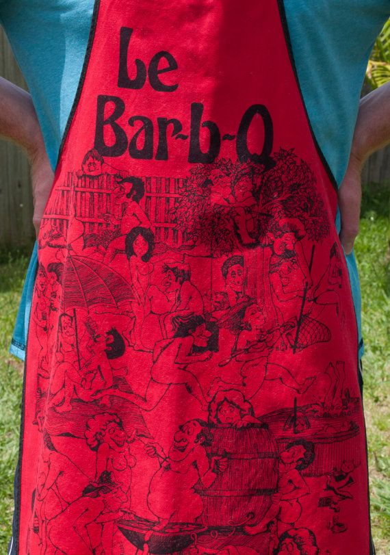 Retro 70s Le Bar-B-Q BBQ or Barbecue Kitsch Apron  by FunkyKoala