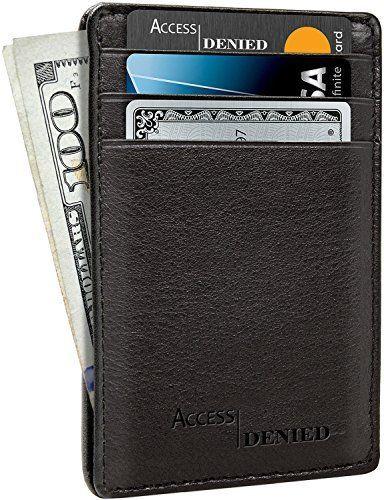 aa606617c13 SERMAN BRANDS RFID Blocking Slim Bifold Genuine Leather Minimalist Front  Pocket Wallets for Men with Money Clip in 2018