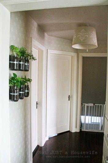 A Polka Dot Allover stenciled hallway. http://www.notjustahousewife.net/2012/01/my-hallway-has-me-seeing-spots.html