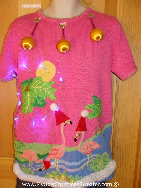 flamingo christmas sweater
