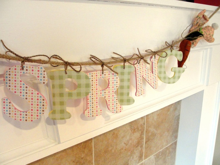 I like this method of stringing wooden letters. I want to do both kid's names for their rooms