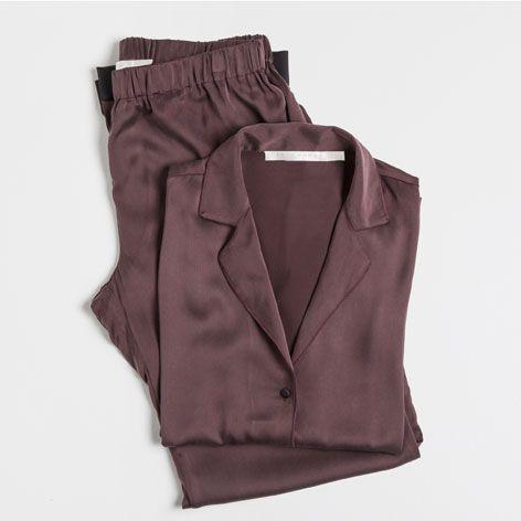 Red silk pajamas - Woman - Loungewear & shoes   Zara Home United States
