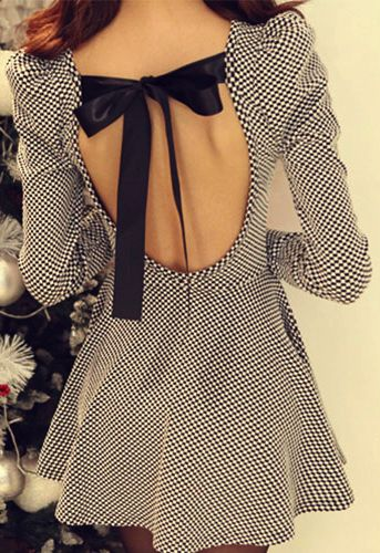 cute backless dress with bow detailing