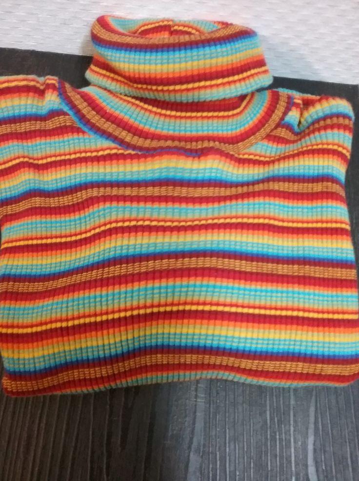 Rollkragen, Pullover, Streifen, rot-orange-türkis-gelb, mehr Größen