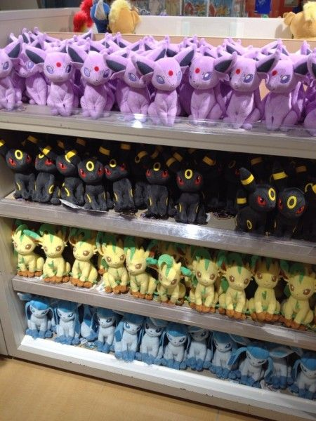 Pokemon Photos from Tokyo - Espeon Umbreon Leafeon Glaceon plush dolls at Pokemon Center Tokyo