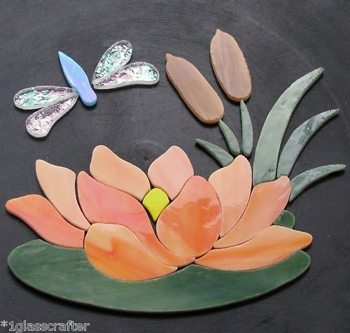 Waterlily / lotus stained glass mosaic inlay kit.