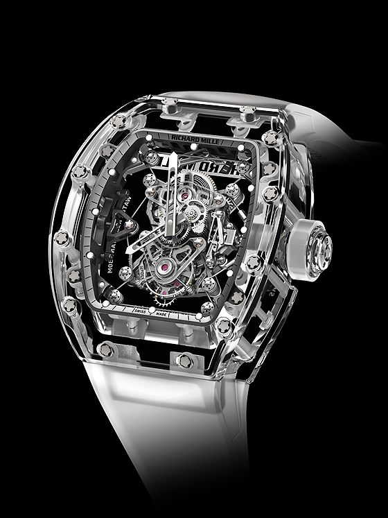 The baseplate of the The Richard Mille Tourbillon RM 56-02 Sapphire movement is made of tough but lightweight titanium and suspended within the all-sapphire case by means of a single-braided cable only .35 mm thick.