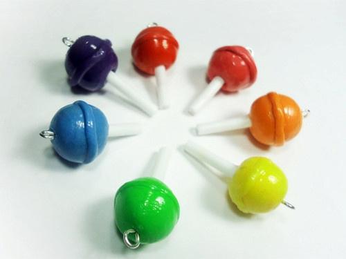 Polymer clay lollipop charms