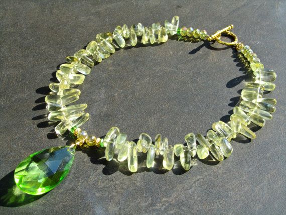 Quartz Statement Necklace Big Bold Chunky Lemon by PrairieIce
