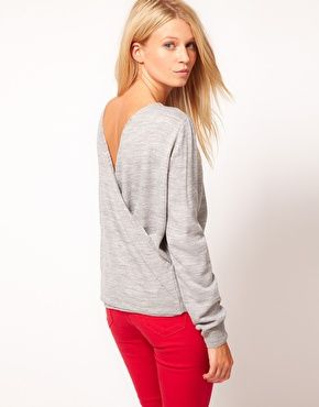 Cross Back Sweater // ASOS: Hot Stuff, Red Skinny Jeans, Red Jeans, Jumpers, Grey Sweaters, Asos Crosses, Open Back, Cute Maternity Clothing, Red Pants