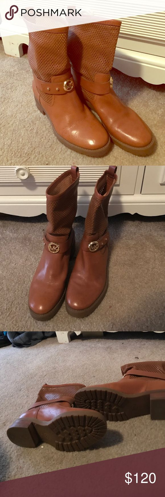 MK boots Cognac boots with mesh like top. Has buckle with MK hardware. Never wore! Just really not my style! Bottoms have no wear. In wonderful condition! Michael Kors Shoes Combat & Moto Boots