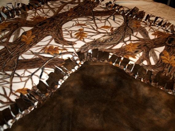 Mossy Oak Winter Camo and brown fleece tie by DeepSouthHomespun, $40.00