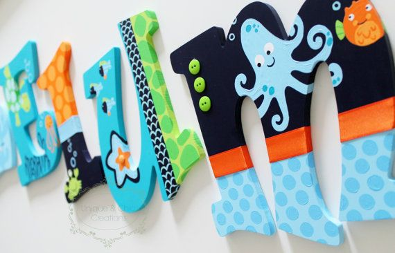 Lambs and Ivy Bubbles and Squirt Teal Blue Orange by KraftinMommy
