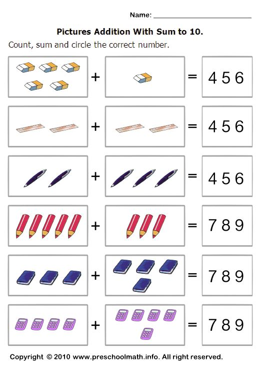 Basic Addition Worksheets With Sum To 10 And Circle The