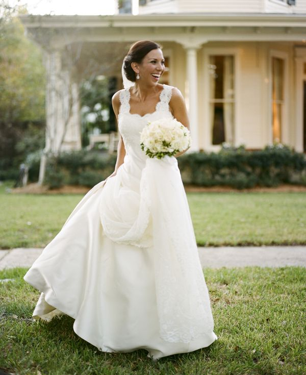 Beautiful #wedding Gown With Lace Straps