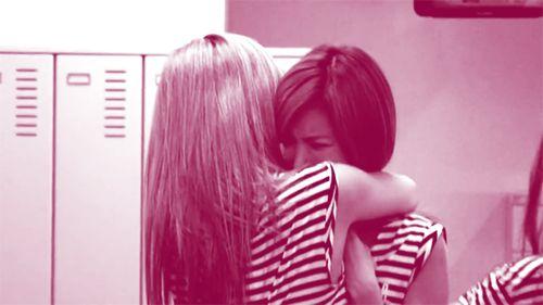 Crying Jungah in Nana's hug.
