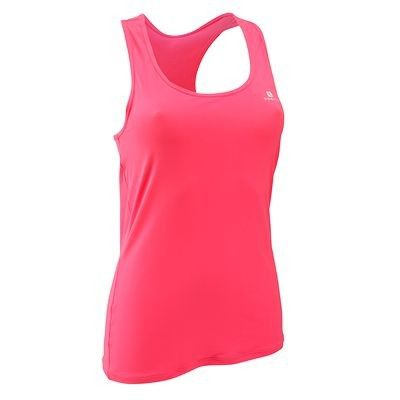Canotte Fitness, Ginnastica, Danza - Canotta fitness donna MYTOP rosa fluo DOMYOS - Abbigliamento palestra