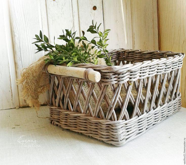 Купить Плетеный короб 'Прекрасный' старинный - серый, белый, плетеный короб, большой короб, старинный, винтажный
