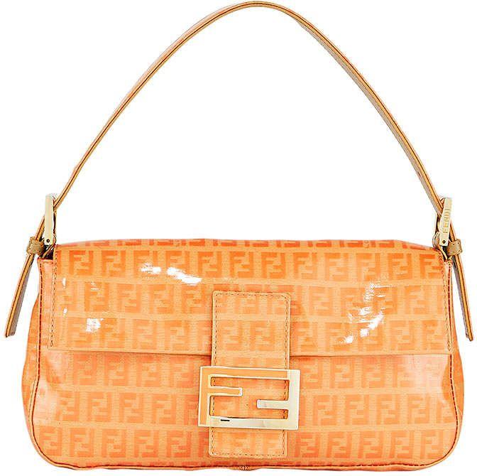 Fendi Zucca Canvas Shoulder Baguette Orange Fendi Bags Fendi Baguette Vintage Patent Leather Bag