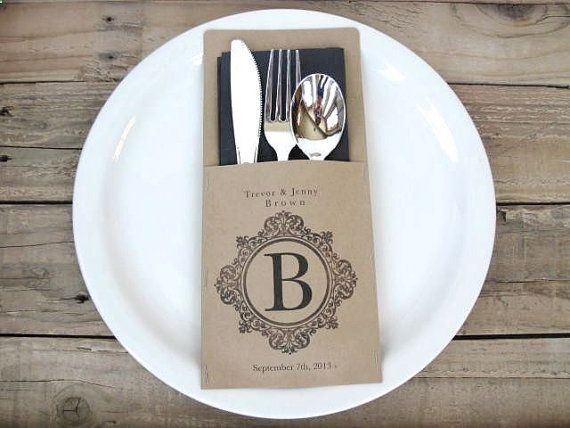 Wedding Dinner Decor - 100 silverware pockets -  monogrammed and personalized - wedding rehearsal dinner,  family reunion, barbecue