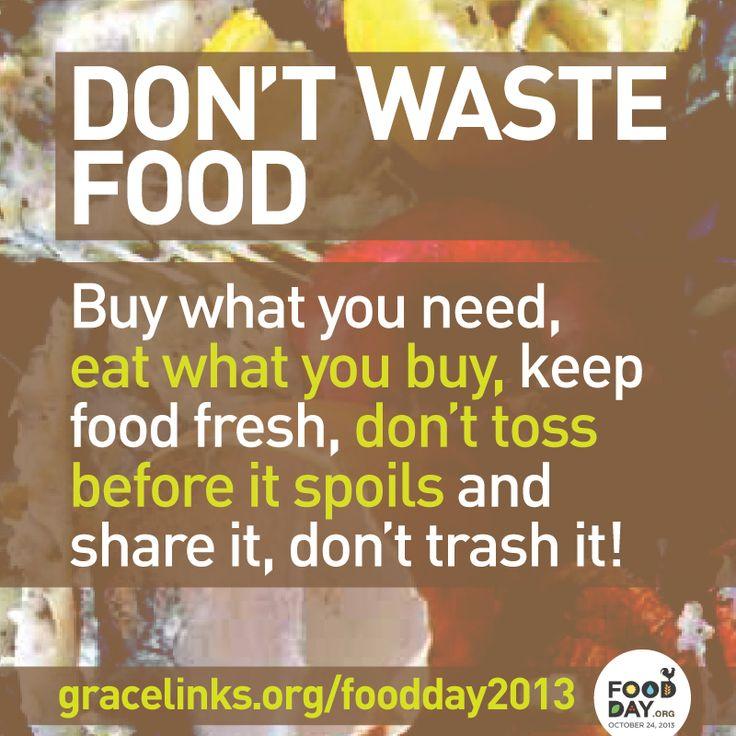 essay on don waste food