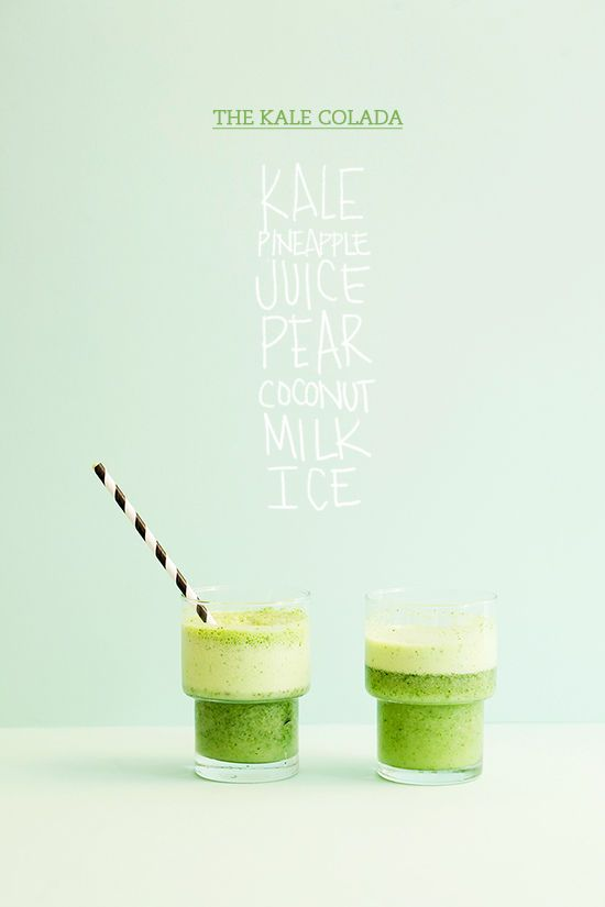 The Kale Colada Recipe! • 1 packed cup of chopped kale (be sure to remove the spine) • 3/4 cup pineapple juice • 1 1/2 cup coconut milk • 1 pear (peeled and cubed) • 1 cup of ice and blend! #MyVeganJournal