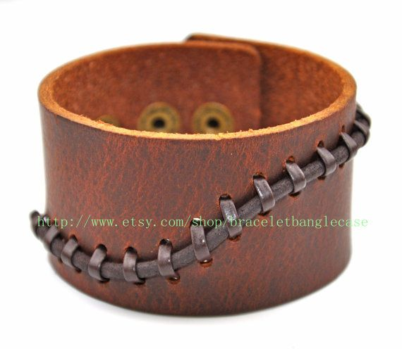 Jewelry bangle leather bracelet men bracelet women bracelet buckle bracelet made of brown leather and ropes woven wrist bracelet  sh-00024 on Etsy, $9.00